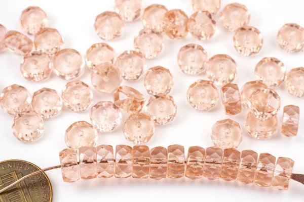 Czech Glass Faceted Heishi, Pink, 8x4mm