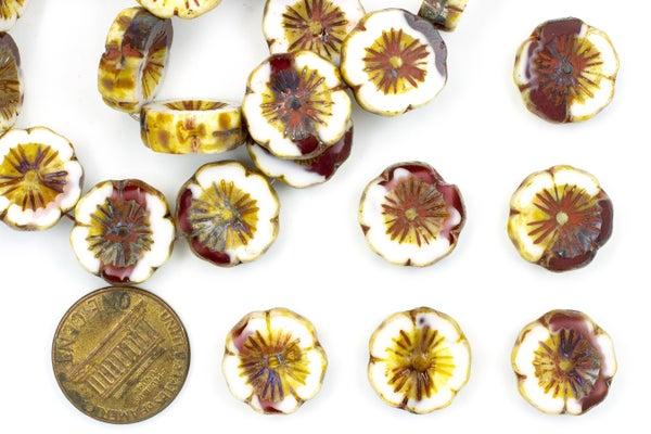 Czech Glass Flowers, Mottled White/Red, 14mm