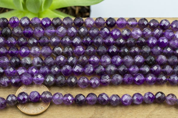 Hand-Faceted Amethyst Round, 6.5mm