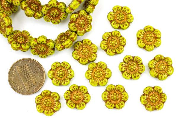 Czech Glass Camellia, Green Copper, 13mm