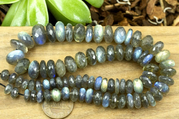 AA Indian-Cut Labradorite Faceted Rondelle, Graduated, 4x7-8x13mm