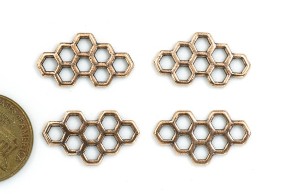 TierraCast Honeycomb Link, Antiqued Copper Plate, 21x12mm