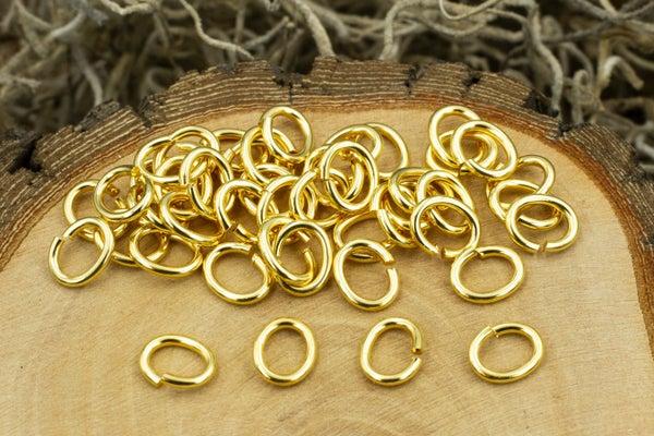 TierraCast Oval Jump Ring, 17 Gauge, Gold Plate, 5x3.5mm Inside