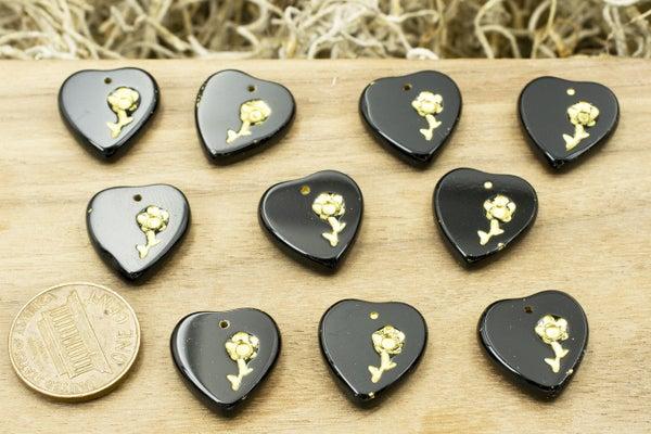 Czech Glass Heart, Black w/ Gold Flower, 17x16mm