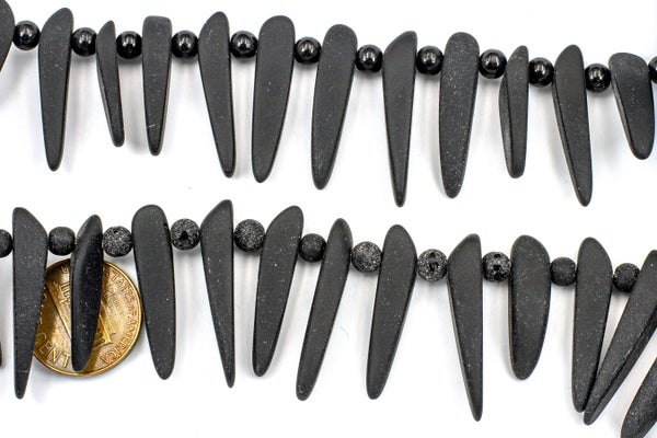 Cultured Sea Glass Top-Drilled Tusk, Black, ~29x6mm