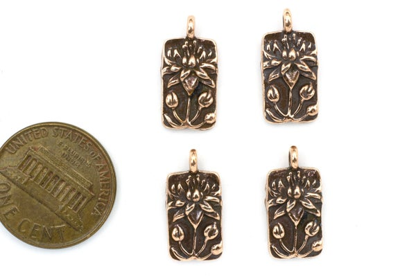 TierraCast Floating Lotus Charm, Antiqued Copper Plate, 9x17mm