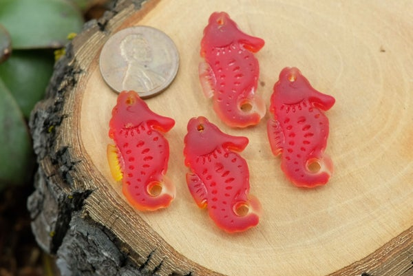Cultured Sea Glass Seahorse, Light Red w/ Orange and Clear, 26x16mm