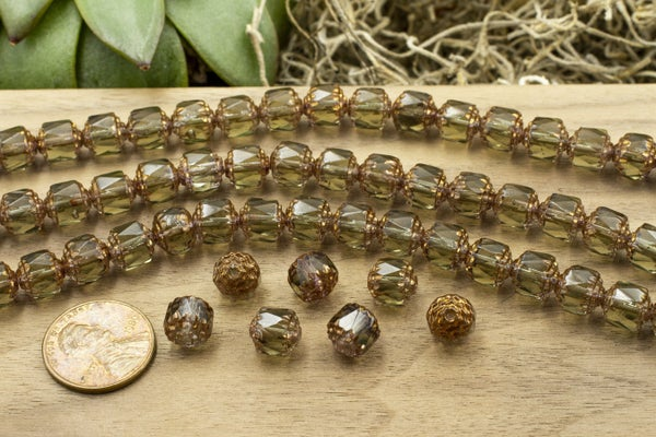 Czech Glass Cathedral, Green / Smoky Quartz Color-change w/ Bronze, 8mm