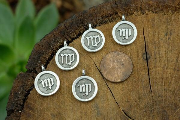 Zodiac Charm, Virgo, Antiqued Fine Silver Plate