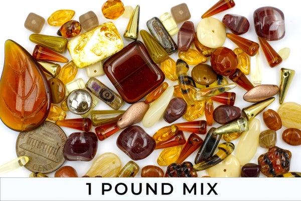 Premium Czech Glass Bead Mix, Light Brown Mix