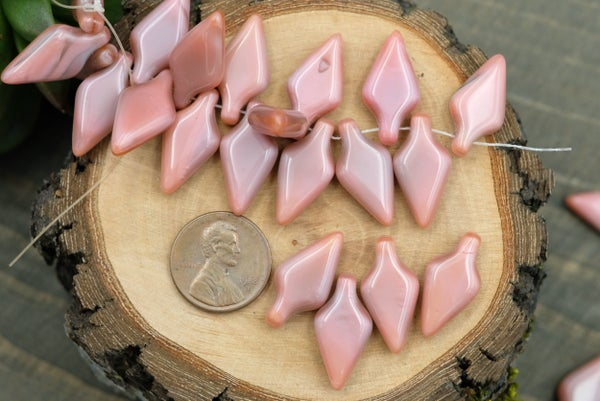 Czech Glass Arrow Brio, Pink Silk, 22x11mm