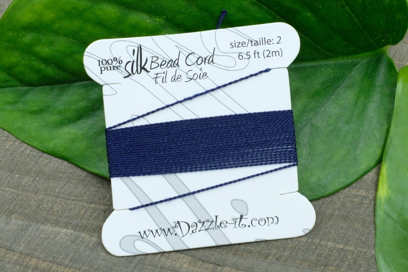 Silk Knotting Cord with Needle Attached, Size 2, Navy