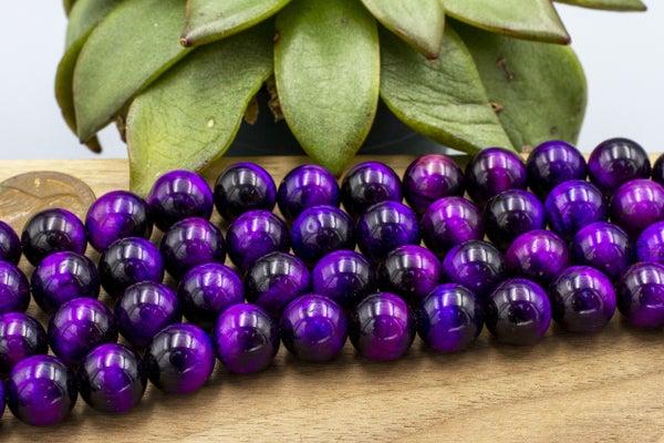 Purple Tiger Eye Round, Dyed, 10mm