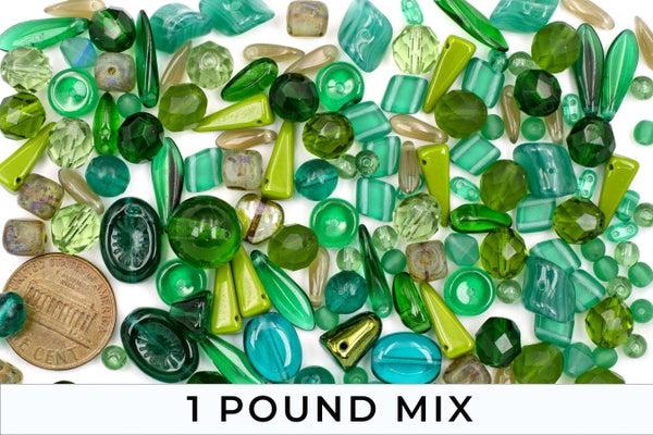Premium Czech Glass Bead Mix, Dark Green