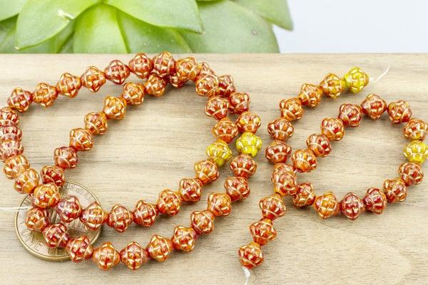 Czech Glass Pressed Saturn, Red/Orange/Yellow w/ Gold, 6mm