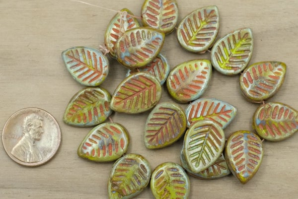 Czech Glass Carved Leaves, Green Picasso w/ Coral Wash, 12x17mm