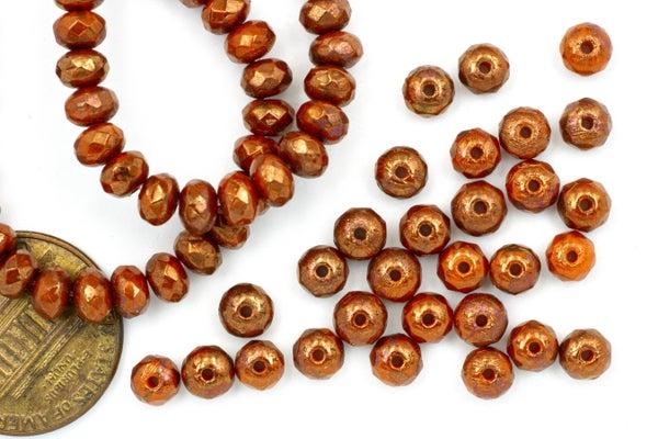 Czech Glass Faceted Rondelle, Burnt Orange Copper, 3x5mm