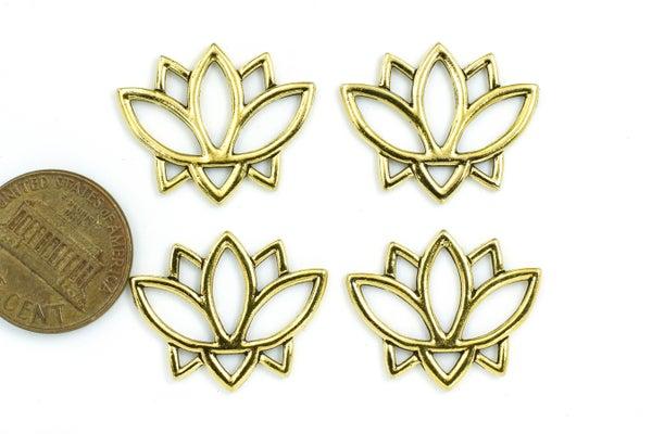 TierraCast Open Lotus Link, Antiqued Gold Plate, 19x24mm