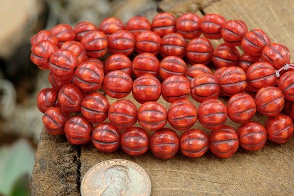 Czech Glass Melon, Ladybug, 8mm