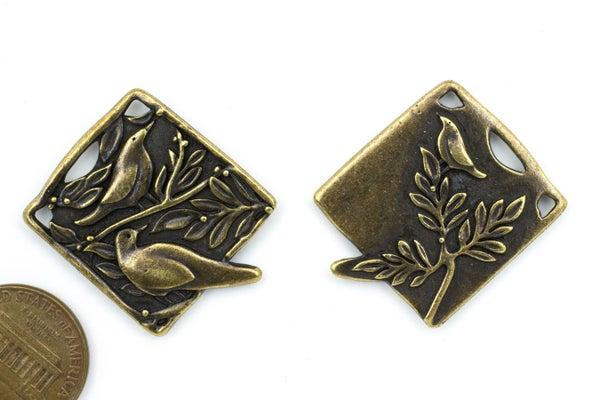 TierraCast Botanical Birds Pendant, Oxidized Brass Plate, 24x29mm