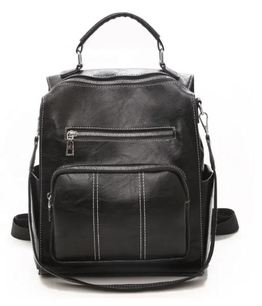 New Retro, Vegan Leather Backpack - Black