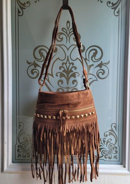 Brown studded fringe purse