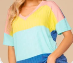 Coral Yellow Multi Rib Color Block V Neck Blouse