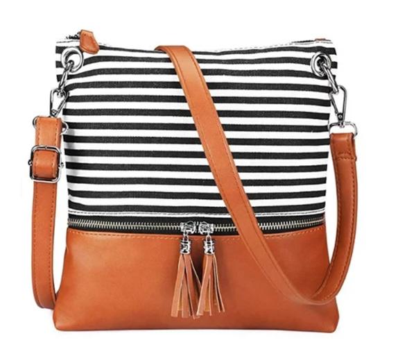 Navy stripe and brown crossbody purse