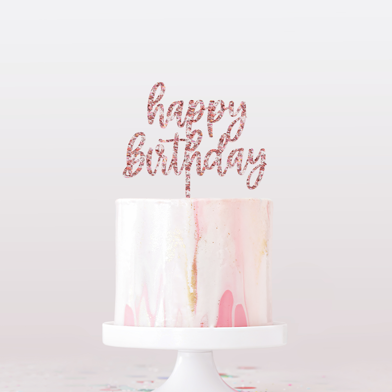 Happy Birthday Cake Topper   Rose Gold Flake Glitter Acrylic