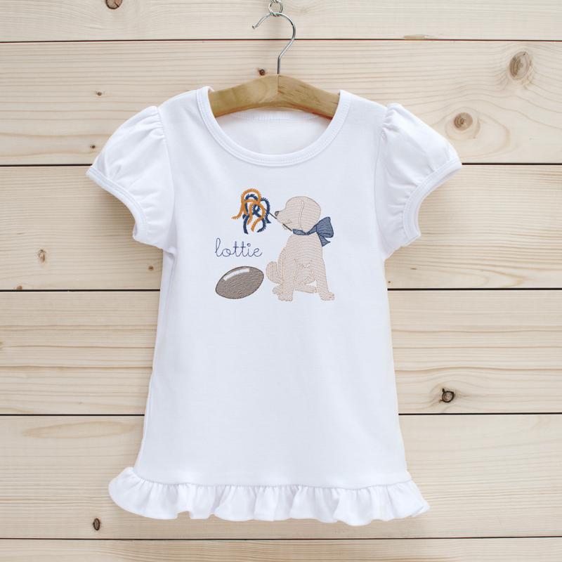 Football Puppy Girls' Short Sleeve Shirt