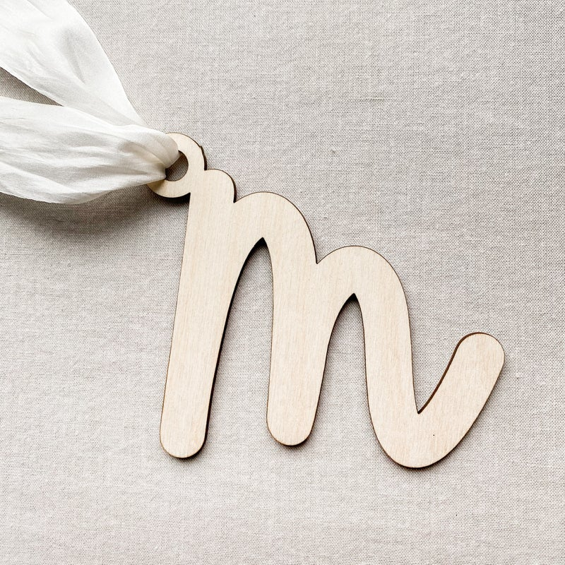 Wooden Single Letter Stocking Tags