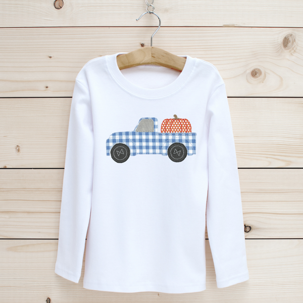 Pumpkin Truck Applique Long Sleeve Shirt