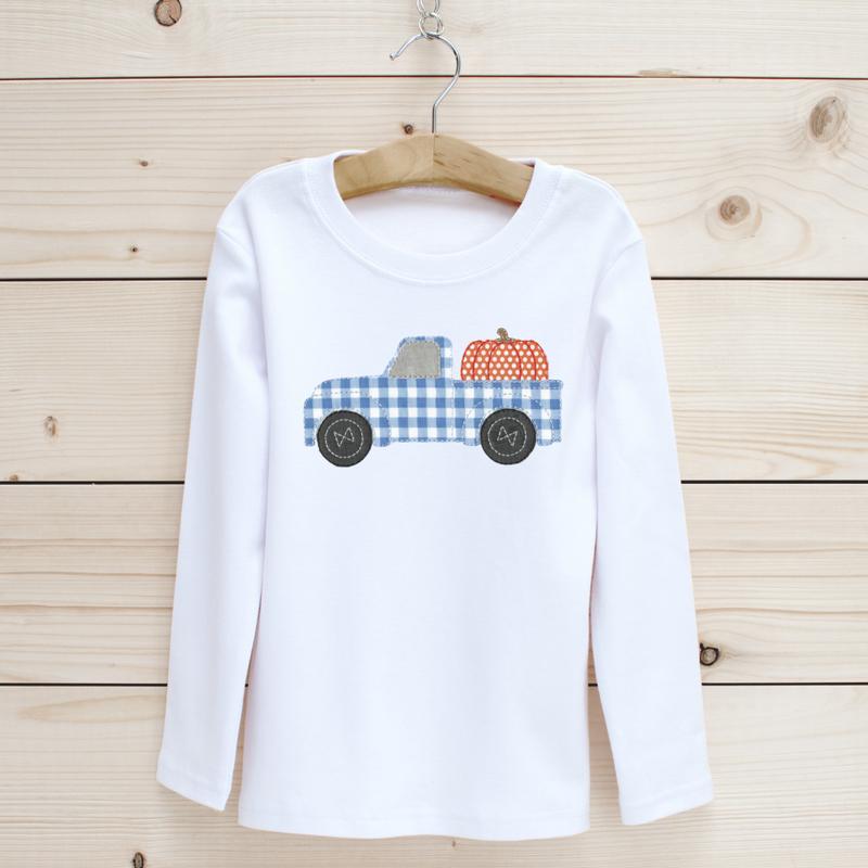 Pumpkin Truck Applique Long Sleeve Shirt