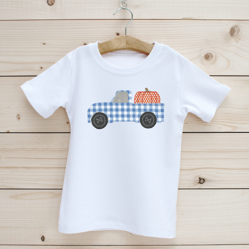 Pumpkin Truck Applique Short Sleeve Shirt