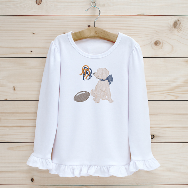 Football Puppy Girls' Long Sleeve Shirt