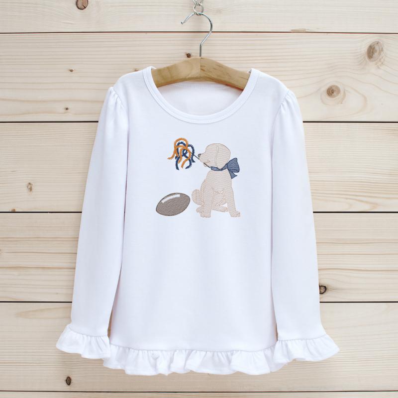 Football Puppy Girls' Long Sleeve Shirt