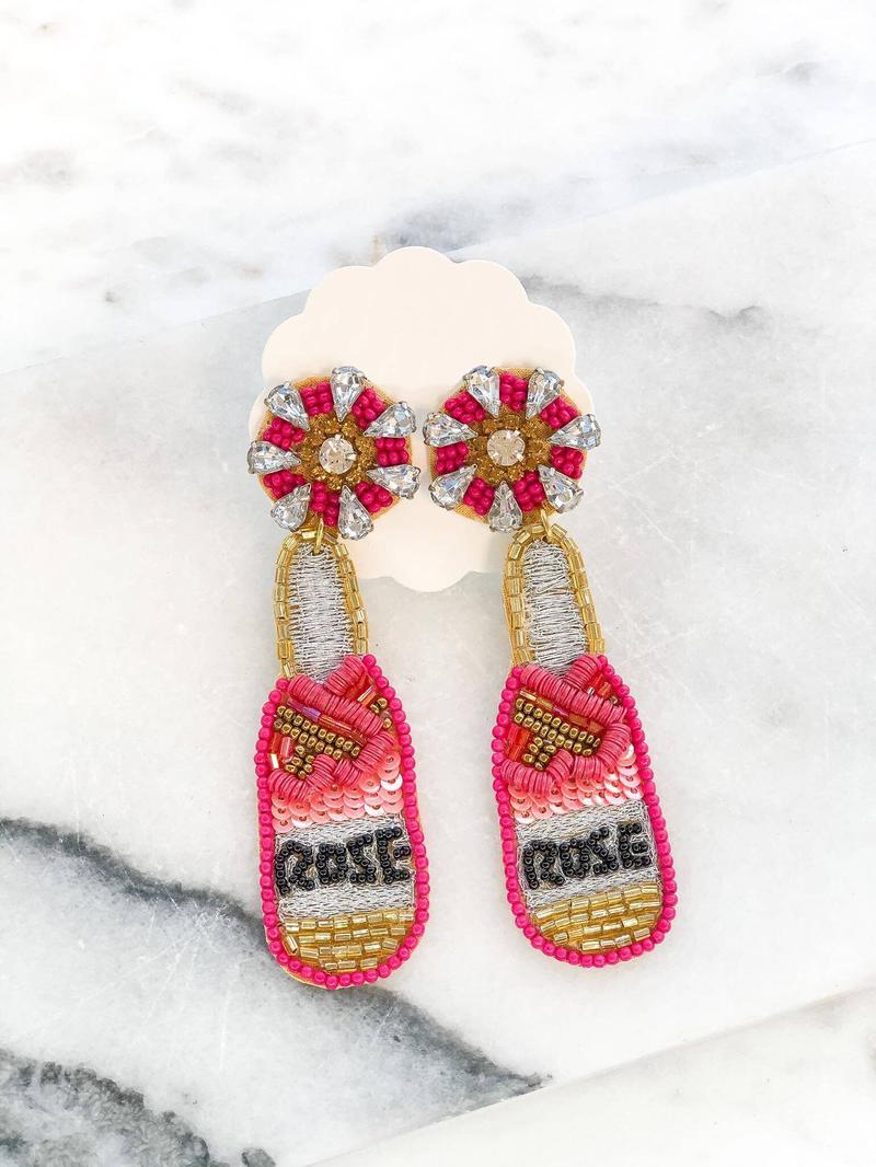 Rosé Seed Bead Dangle Earrings - duplicate