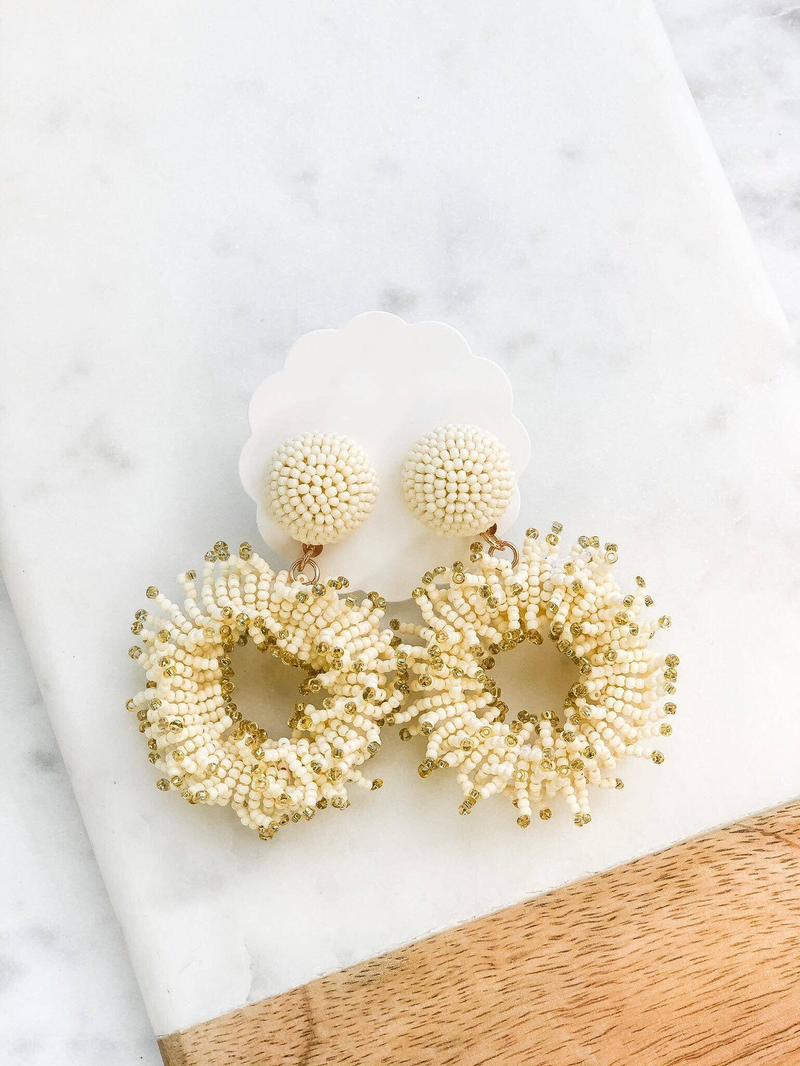 Fringe Circle Seed Bead Dangle Earrings
