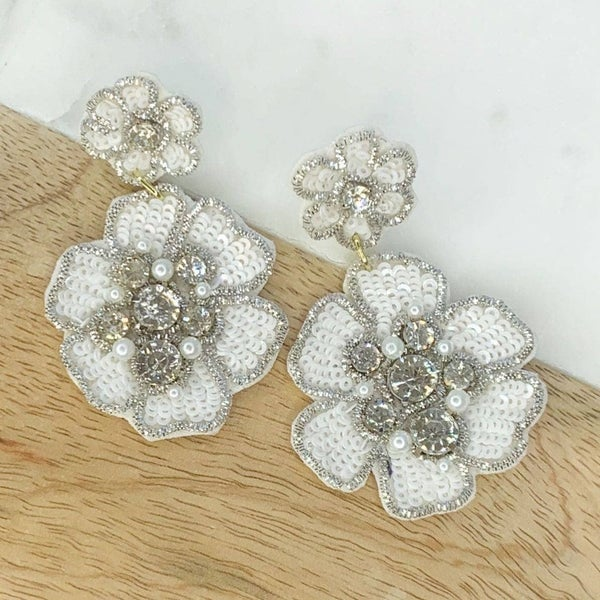 White Sequin Flower Dangle Earrings