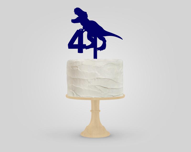 Dinosaur Birthday Blue Acrylic Cake Topper