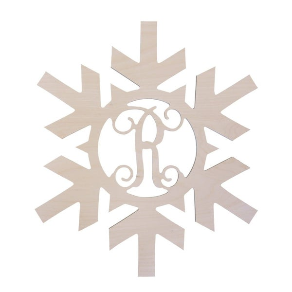 Snowflake Wood Monogram (Unfinished)