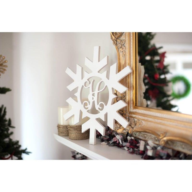 Snowflake Wood Monogram (Unfinished)
