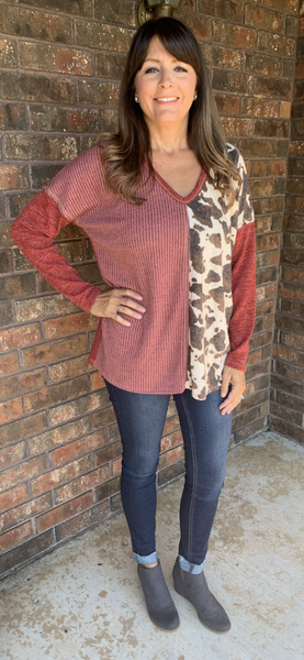 BRICK COLOR WITH COW PRINT SLEEVE