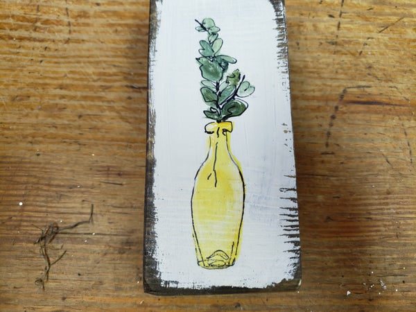 Hand painted bye Janet — flowers in a bottle