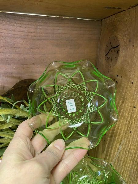 Green glass bowl