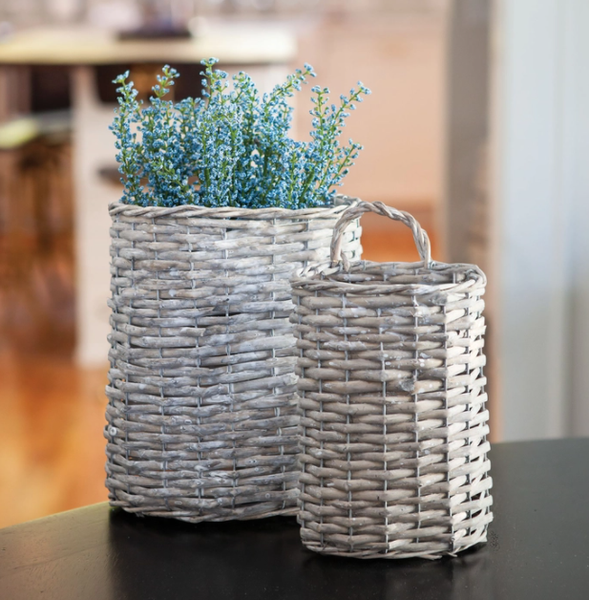 Gray Willow Oval Basket