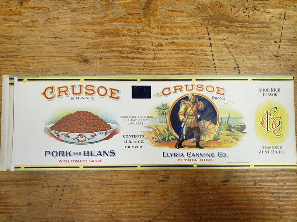 Original Crusoe Pork and Beans Label-UNUSED