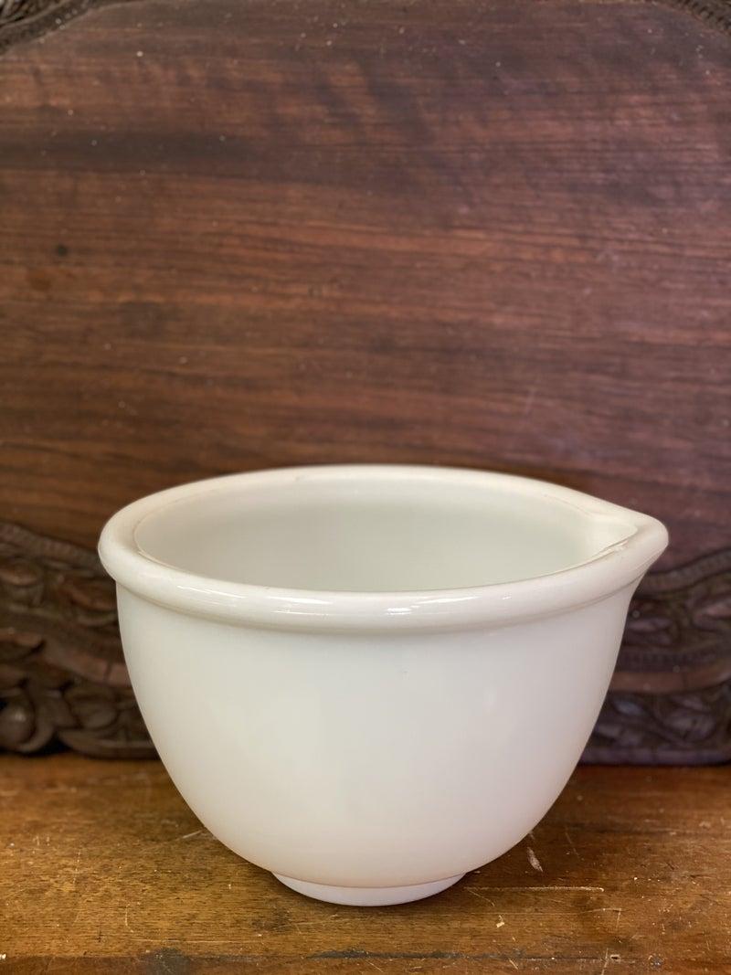 Milk glass mixing bowl