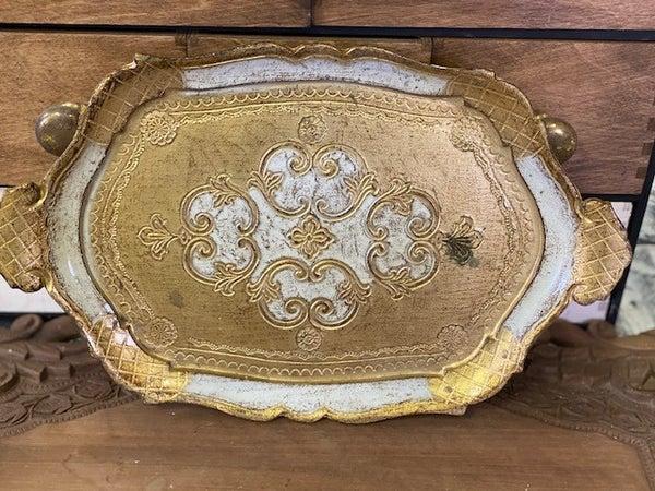 Gold wood tray