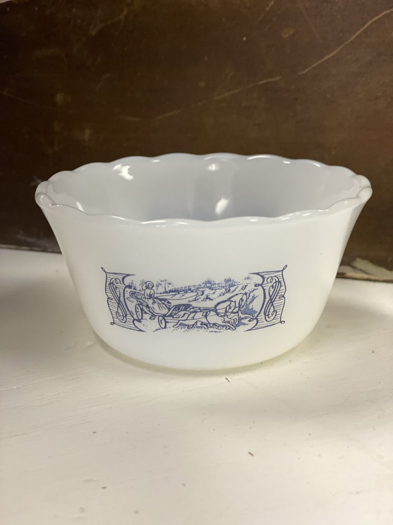 """Vintage Currier and Ives custard cup - 3.75"""""""